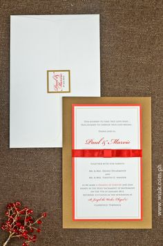Executive | Written in Ink #winkinvitations #wedding #invitation #formal #gold #red #ribbon #layered Finding True Love, Red Ribbon, Wedding Invitations, Ink, Writing, Formal, Gold, Preppy, Wedding Invitation Cards