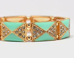 Mint Stretch Bracelet, Turquoise Stretch Bracelet, Diamond Stretch Bracelet, Rhinestone Stretch Bracelet, Mint Bracelet