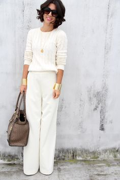 winter white - one of my favorite colours!    Sweater: Gap; Pants: H&M (similar style here); Shoes: Jessica Simpson; Bag: London Fog; Sunglasses: Fred Flare; Jewelry: Emerson Made necklace, H&M bar necklace, Asos cuffs