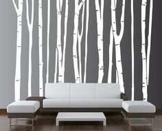 Large Wall Birch Tree Decal Forest Kids Vinyl Sticker Removable (9 trees) 5 foot tall 1109. $49.99, via Etsy.