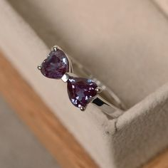 Double alexandrite ring heart cut sterling silver by LuoJewelry