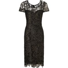 Gina Bacconi Guipure Lace Dress, Black/Gold (€290) found on Polyvore