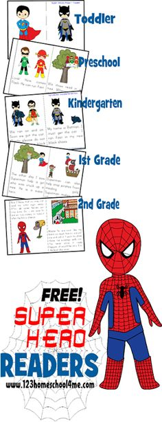 Super Hero Reader Books - FREE printable dolch sight word books for kids (Toddler, Preschool, Kindergarten, 1st grade, & 2nd grade). Including Batman, Superman, Flash, and more!