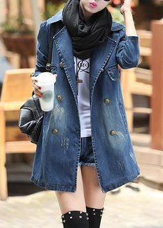 Blue Long Sleeve Button Up Pocket Denim Coat on sale only US$39.34 now, buy cheap Blue Long Sleeve Button Up Pocket Denim Coat at liligal.com