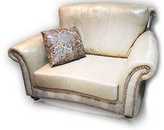Cowhide Western Furniture  White custom leather chair. #custom #leather #white #chair