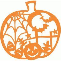 Silhouette Design Store: halloween pumpkin scene cutout