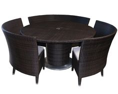 This Round Dining Table With An Umbrella Hole Is Perfectly Complemented By  Its 3 Circular Benches