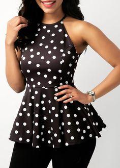 Feitong Womens Casual Summer Sleeveless O-Neck Dot Print Tops Ruffles Chiffon Peplum Blouse Blusas Mujer De Moda Ruffles, Chiffon Ruffle, Chiffon Tops, Top Fashion, Spring Fashion Outfits, Womens Fashion, Trendy Fashion, Womens Sleeveless Tops, Blouses For Women