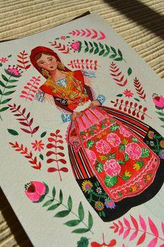 Portugal's Traditional Clothing – Trajes Regionais de Portugal – Caroline Illustrations Tile Patterns, Color Patterns, Traditional Art, Traditional Outfits, Portuguese Wedding, Portuguese Culture, Illustrations, Fashion Art, Folk Art