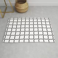 Black And White Timeless Retro Style Rug Black And White Carpet, Teal And Grey, Patchwork Patterns, Flower Patterns, Grey Pattern, Tropical Flowers, Retro Style, Retro Fashion, Abstract