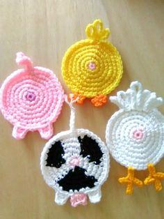 Farm animal coasters, crochet farm animal coasters, crochet farm animal butt coasters, crochet pig b - Crochet applique - Crochet Pig, Crochet Animals, Easy Crochet, Funny Crochet, Crochet Chicken, Free Crochet, Diy Crochet Flowers, Crochet Crafts, Crochet Projects