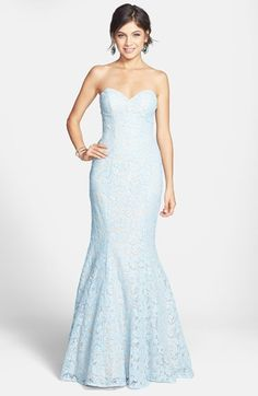 Free shipping and returns on La Femme Strapless Lace Gown at Nordstrom.com. Delicate lace frosts a strapless gown structured by feminine princess seaming and taken to fairy-tale heights by the sweetheart bodice that descends to a show-stopping mermaid skirt.