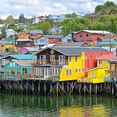 These stilt houses (or palafitos) are built over water on Chiloe Island. What color would you choose for your home? Photo by by sandisk House On Stilts, Exterior House Colors, Home Photo, Hostel, Island, Mansions, Architecture, House Styles, Building