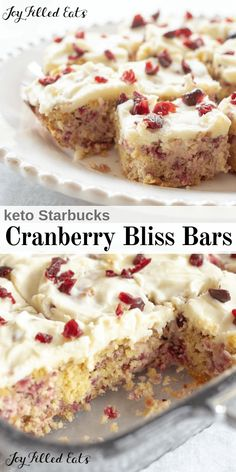 Cranberry Bliss Bars - Low Carb, Keto, THM S, Gluten-Free - This delightful keto fall treat is reminiscent of the famous cranberry bliss bars sold at Starbucks with cranberries, hints of orange and ginger, and cream cheese icing.  #lowcarb #keto #sugarfree #thm #trimhealthymama #glutenfree #grainfree #copycat #healthy