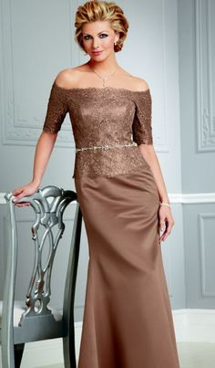 A-line Off-the-shoulder Floor-length in Satin Lace Mother of the Groom Dress Mother Of The Bride Suits, Mother Of Groom Dresses, Bride Groom Dress, Bride Gowns, Mothers Dresses, Mob Dresses, Bridesmaid Dresses, Hippie Dresses, Wedding Dress Styles