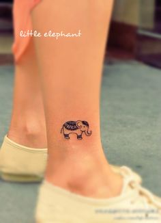 cute little elephant tattoo on the ankle