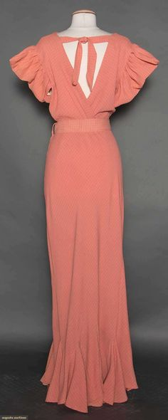 SALMON CREPE PARTY DRESS, c. 1932 (back view)