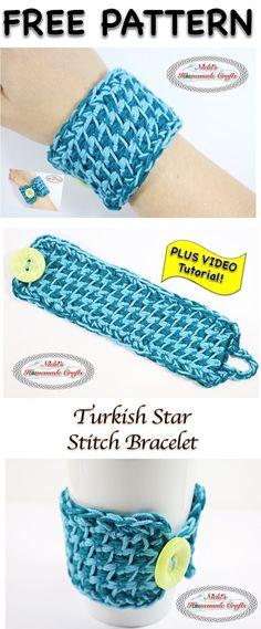 Turkish Star Stitch Bracelet - Free Crochet Pattern and Tutorial