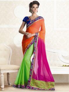 Buy Green And Orange Chiffon Saree With Zari Embroidery Work Online - Saree.com