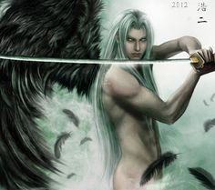 Insert whatever pairing you like behind those feathers. Personally, I'm partial to Cloud, Zack or Vincent... or all four.  General Sephiroth by K-Koji