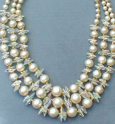 Pearls and Crystal disks Necklace
