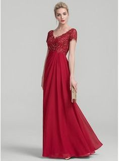 1649bda385e8 A-Line Princess V-neck Floor-Length Ruffle Beading Zipper Up Sleeves Short  Sleeves No Burgundy General Plus Chiffon Lace Mother of the Bride Dress
