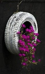 Painted tire hung on wall filled with flowers