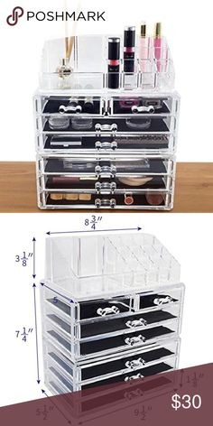 Acrylic Makeup Organizer 3 piece set. Organizes all jewelry & cosmetics in one place & keeps your beauty products clean & tucked away. Convenient to take out & use at anytime. It's thicker & more durable than the typical makeup storage boxes, jewelry cases, & organizers. Removable black mesh padding keeps jewelry protected and in place. Removable drawers slide out smoothly. I haven't used it. Makeup shown for display purposes. Makeup not included.  ✨price is firm✨offers NOT accepted*✨bundle…