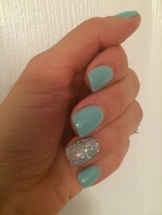SNS gelous Color ! Tiffany blue!