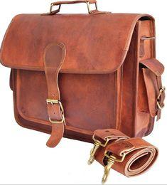 163e655580 Men s Genuine Vintage Satchel Man Bag Brown Leather Messenger Laptop  Briefcase  Handmade  BriefcaseAttache