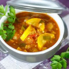 Crockpot | Vegetable Soup with Squash  - Tap the picture to read other vegetable slow cooker recipes