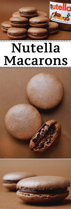 Nutella Macarons (Chocolate Hazelnut French Macarons) - These delicious fr . - Nutella Macarons (Chocolate Hazelnut French Macarons) – These delicious French Macarons have a delicious chocolate and hazelnut aroma because – baking - Easy Desserts, Delicious Desserts, Dessert Recipes, Yummy Food, Baking Desserts, Healthy Desserts, Baking Cakes, Snacks Recipes, Healthy Food