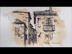 Pen and Ink Sketching on Painted Paper. Adding White Highlghts. Peter Sheeler - YouTube