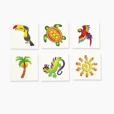 Tropical Tattoos (6 dz) by Fun Express. $5.25. Assorted Tropical Designs.. Easy to Apply & Remove.. 6 Dozen Tropical Tattoos.. Tattoos Measure 1 1/2 Inches.. Safe & Non Toxic.. Kids will be ready for a fun, relaxing time with these Tropical Tattoos. These tropical designs are perfect for any Hawaiian party or luau!