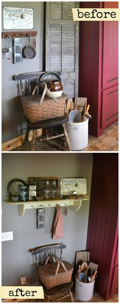 Adorable farmhouse kitchen decor.  Honestly, I like both versions.  I really like the old kitchen tools hanging from square nails.  Gonna do that!