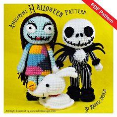 PDF patrón - Set de Amigurumi Halloween - Jack Skellington, Sally y cero