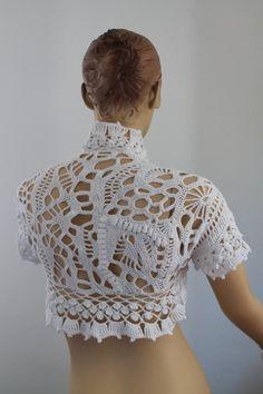 OFF Freeform Crochet Cotton Wedding Shrug Bolero Crochet Shirt, Crochet Jacket, Crochet Cardigan, Love Crochet, Irish Crochet, Crochet Top, Crochet World, Crochet Wedding Dresses, Wedding Shrug