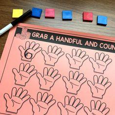 Grab a handful of manipulatives, count and record how many Preschool Math, Math Classroom, Kindergarten Math, Math Activities, Maths, Classroom Ideas, Number Sense Kindergarten, Weather Activities, Math Math