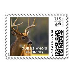 Funny Wildlife Animal Whitetail Buck Retirement Stamps This funny retirement product features wildlife nature photography from the great Smoky Mountains National Park.  This product features photography from the Great Smoky Mountain National Park with a natural camo background. This beautiful 8 point whitetail buck photo was captured in Cades Cove - a favored wildlife spot in the smokies.