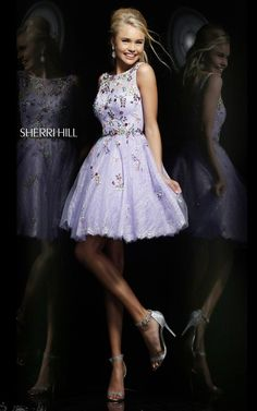 Sherri Hill 4305 Jewel-Neck Lilac/Multi Beaded A-Line 2014 Short Lace Homecoming Dresses Sherri Hill Prom Dresses Short, Sherri Hill Homecoming Dresses, Cheap Short Prom Dresses, Prom Dress 2014, Cute Prom Dresses, Party Dresses, Homecoming 2014, Grad Dresses, Dance Dresses