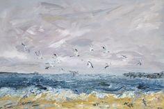 Terns, an original oil painting by Lynn Keddie, a wild seascape with Terns.