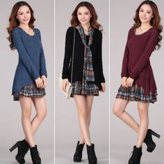 New-Autumn-Winter-Women-Long-Sleeve-Casual-Knitwear-Sweater-Mini-Dress-4-Colors