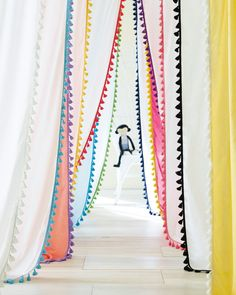LOVE this playful Tassel Window Panel Aqua by Serena & Lily! The perfect match with Prettypegs' colorful furniture legs :) #prettypegs #furniturelegs #diy