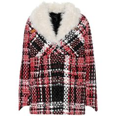 Rag & Bone Shearling-Trimmed Plaid Jacket ($1,830) ❤ liked on Polyvore featuring outerwear, jackets, multicoloured, rag bone jacket, multi coloured jacket, plaid jacket, multi-color leather jackets and colorful jackets