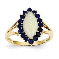 14k Opal and Sapphire Ring Y11658OP