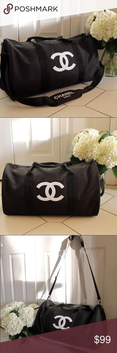 """Authentic Chanel Vip Gift Gym Duffle Bag Authentic Chanel Vip Gift Gym Duffle Bag   CHANEL VIP GIFT TRAVEL BAG GYM BAG CROSS BODY BAG SHOULDER BAG -NEW New in original packaging. Authentic VIP Gift given when you make a certain amount purchase to qualify for their free gift offers. This was a VIP gift from Chanel Beaute corner, does NOT come with hologram sticker, serial number or tags. Dimensions L 48cm X H 32cm In inches L 19"""" X H 13"""" CHANEL Bags Shoulder Bags"""