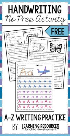 A-Z Handwriting Practice no prep worksheets! These are perfect for working on proper letter formation, letter writing, and letter sounds in preschool, pre-k, kindergarten, and early childhood. Free printable by Learning Resources for Child Development. #literacy #literacycenter #writing #writingcenter #handwriting #noprepworksheet #learningwriting #letteractivity #alphabetactivity #preschool #prek #kindergarten #earlychildhood #freeprintable #freeworksheet #learningresources