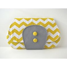 Large Clutch Purse in Yellow Chevron with grey accent ready to ship