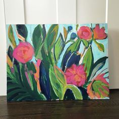 Laura Dro artwork Poolside Paintings Bohemian florals Follow me on instagram for release  @lauradrodesigns  This painting is on birchwood panel with acrylic, guache and oil sticks!