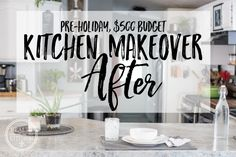 Finally, right? I know this post has been a long time coming, but it's taken me a while to feel really, really ready to share the big reveal. This kitchen makeover was far more that First Kitchen, Kitchen Mat, Kitchen Signs, Diy Kitchen, Kitchen Decor, Kitchen Cabinets, Kitchen Window Valances, Low Light Plants, Faux Stone
